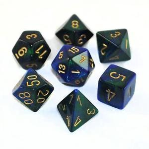 BLUE & GREEN with GOLD - 7-Die Gemini Dice Set