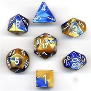 BLUE & GOLD w/White - 7-Die Gemini Dice Set