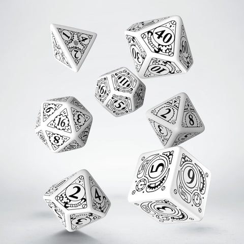 Steampunk White & black Dice Set (7)