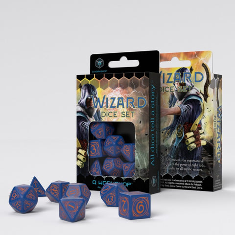 Wizard Dark Blue & Orange Dice Set (7)