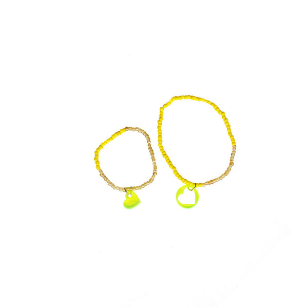 Bracelet Set Two Hearts Connected / Yellow Mellow