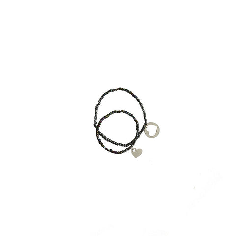 Bracelet Set Two Hearts Connected / Black Pearl