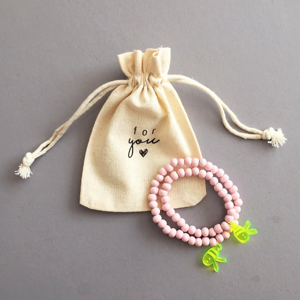 Bracelet Set Two Sweet Bees / dusty pink