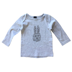 Baby T-shirt Flap lines long grey