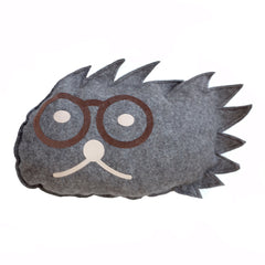 Cuddly cushion hedgehog with glasses