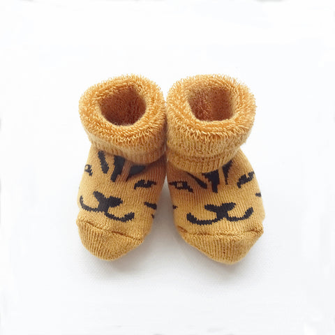 Soft baby booties Lucky the Tiger
