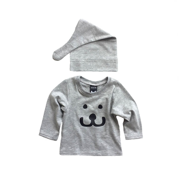 Newborn   Set T-Shirt and beanie Smile grey