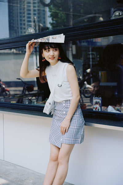 F18900172  Checked Skirt