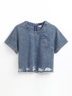 F1711508  Denim Top