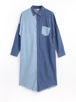 F1730208  Denim Shirt Dress