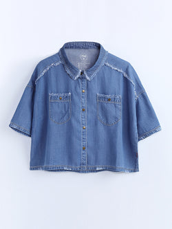 F1730308  Tassel Denim Shirt