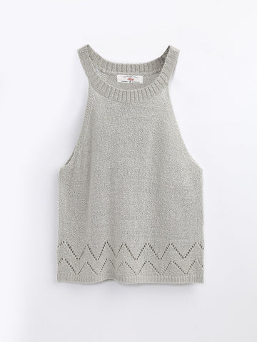 F1750216  Pointelle Knitted Top