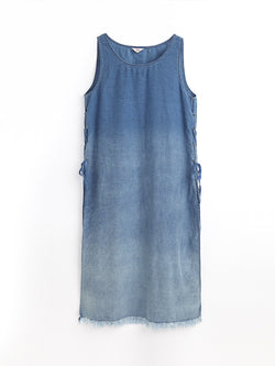 F17600207  Denim Lace Up Dress