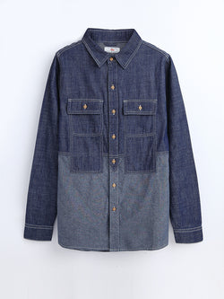 SH81008  Patchwork Denim Shirt