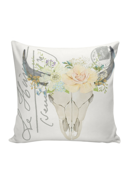 Flower Wreath Skull Canvas Pillow