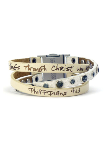 3 Strand Scripture Leather Bracelet