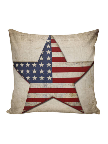 Flag Star Canvas Pillow