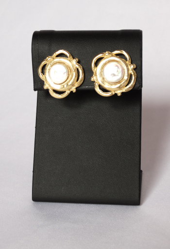 Gold Coin and Freshwater Pearl Earrings