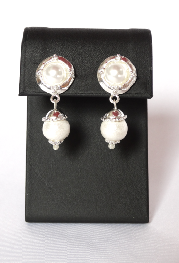 Silver with Cotton Pearl Earrings