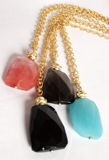 Gold Chain and Quartz Rock Necklace