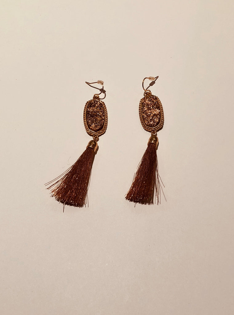Druzy and Gold Hex and Tassel Earrings