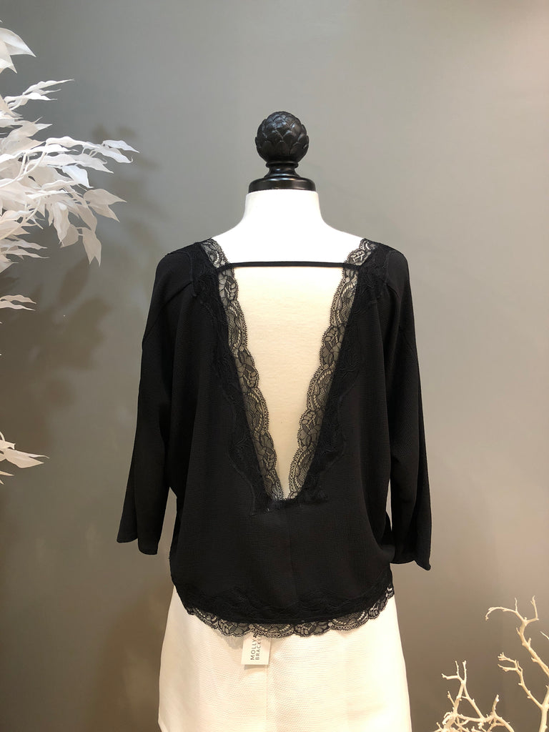 Black V-Back Lace Trim Blouse
