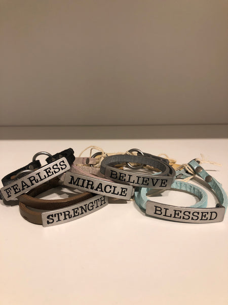 Inspirational Wrap and Hook Leather Bracelet