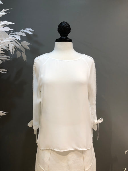White Channel Tie Sleeve Blouse