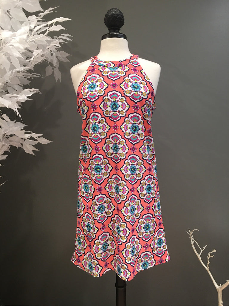 Mayan Medallion High Neck Dress