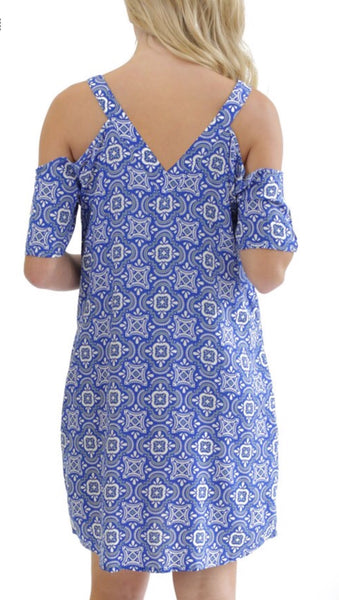 Gameday Blue White Tile Cold Shoulder Dress