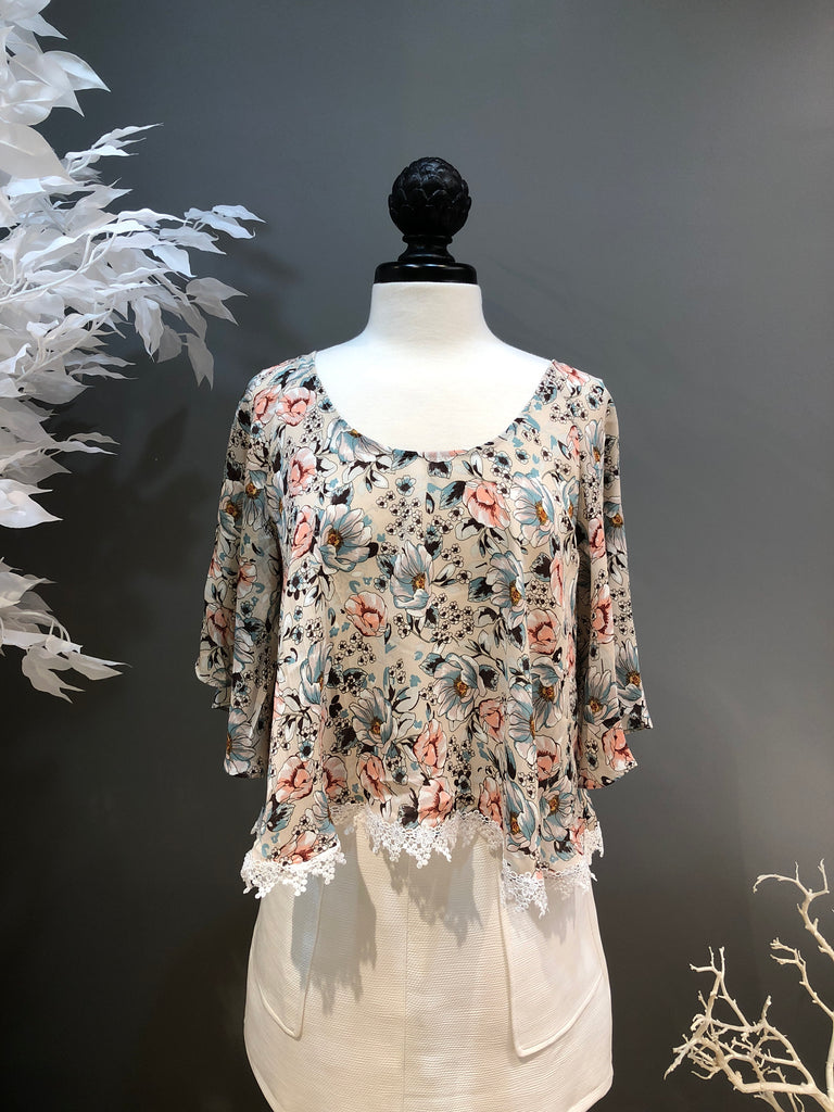 Stone and Floral Print Blouse with Applique Hem