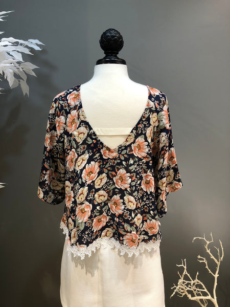 Navy and Floral Print Blouse with Applique Hem
