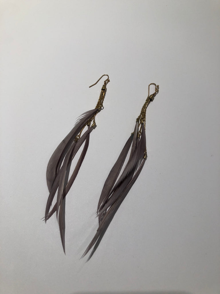 Matte Gold and Feather Earrings