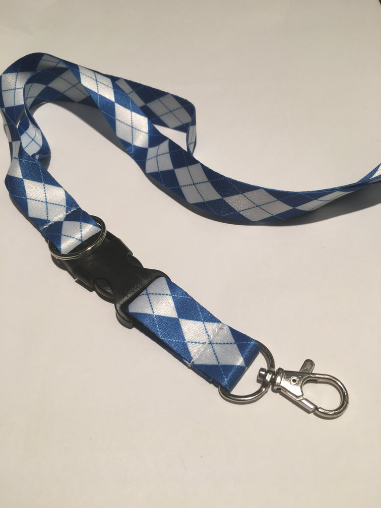 Gameday Blue White Plaid Lanyard