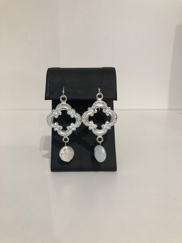 Silver Clover and Freshwater Pearl Button Earrings