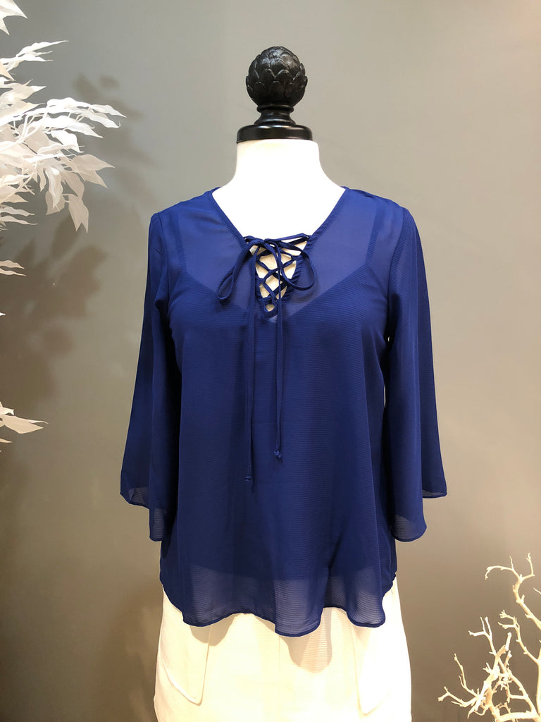 Royal Blue Bell Sleeve and Lace-up Blouse