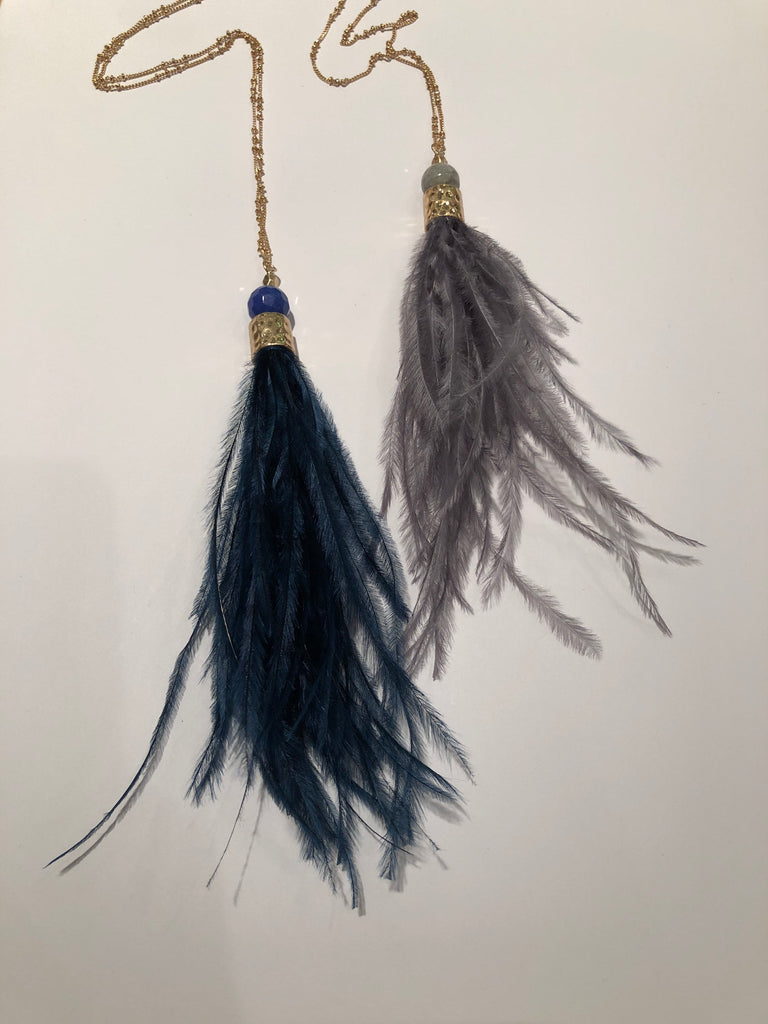 Feather Tassel and Matte Gold Necklace