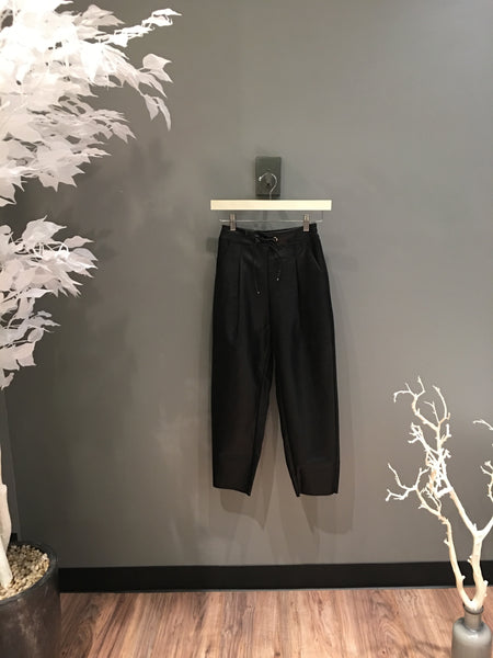 Black Vegan Leather Cropped Dress Pants