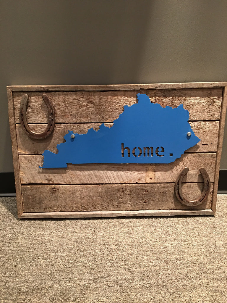 Blue KY and Horseshoes Plaque on Reclaimed Barn Wood
