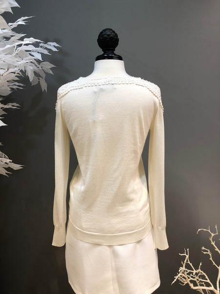 Off White Sweater with Macrame Shoulders