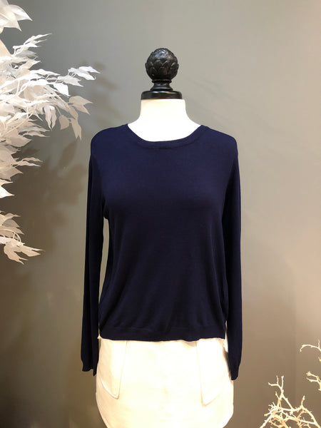 0685dac8fc221 Navy Sweater with Open Lace-up Back and Veil