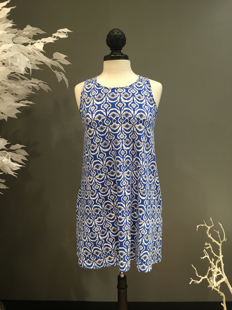Blue White Splash Tank Swing Dress