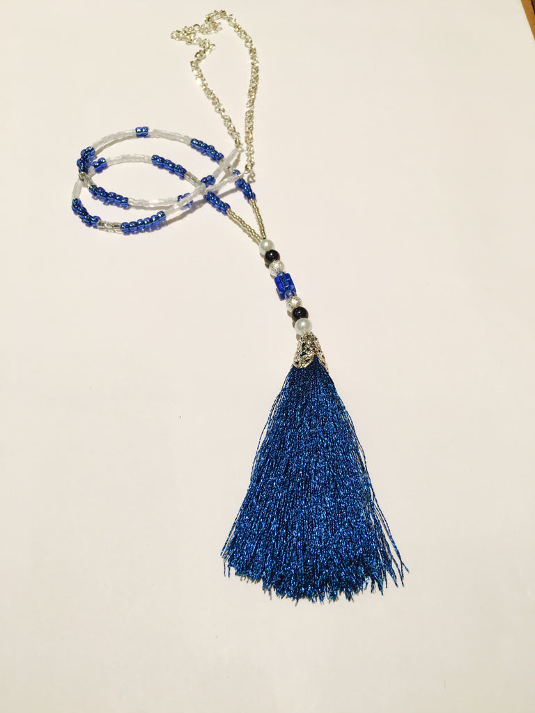 Gameday Seed Bead and Tassel Necklace - Kentucky