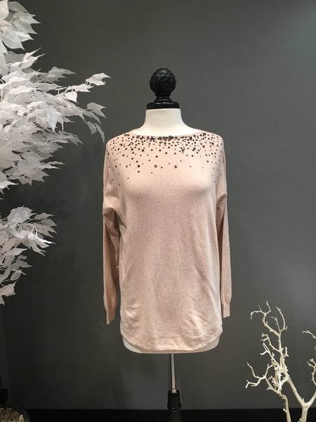 Beige Studded Sweater