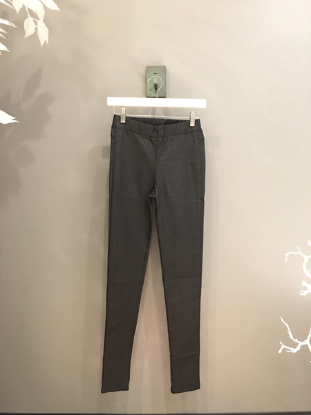Charcoal Faux Leather Stretch Pants