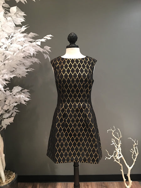 Molly Bracken Black and Gold Flattering Pattern Dress