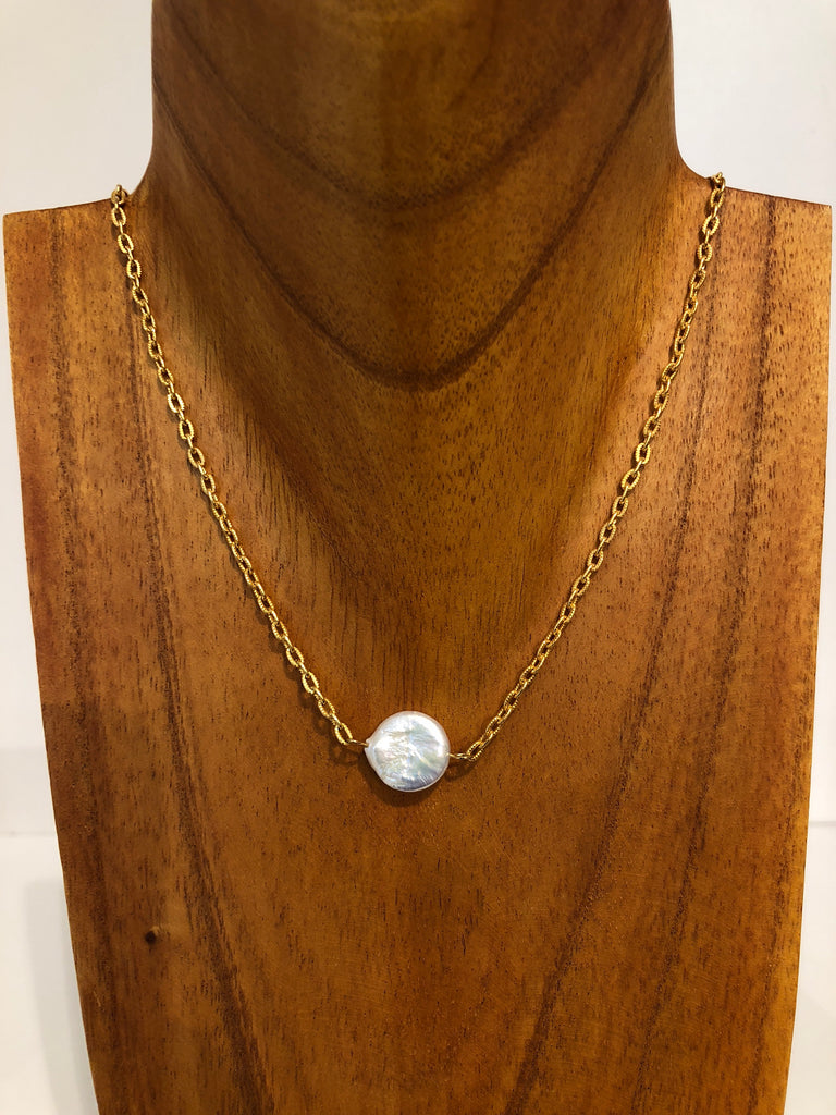 Gold Chain with Freshwater Pearl Button Necklace