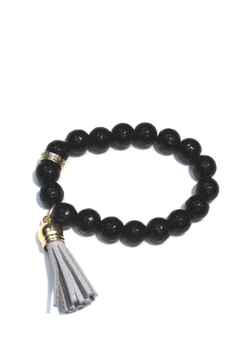 Black Agate with Gray Tassel Stretch Bracelet