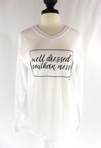 Statement: Southern Mess Long Sleeve White Shirt