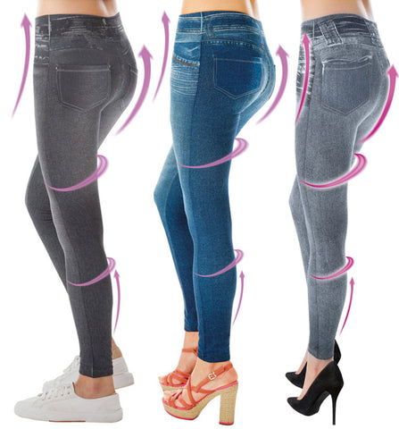 3x Comfortisse Slimming Jeggings in Jeans, Schwarz und Grau - tv-original - 1